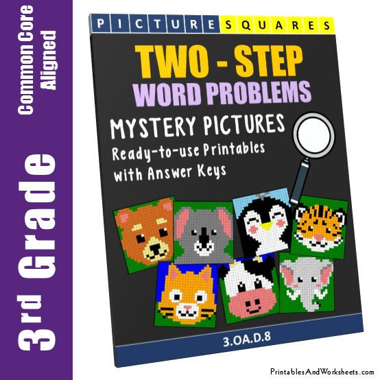 3rd Grade Two Step Word Problems Mystery Pictures Coloring Worksheets -  Printables & Worksheets