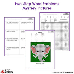 Grade 3 Two Step Word Problems Mystery Pictures Coloring Worksheets - Elephant