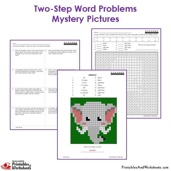3rd grade two step word problems mystery pictures coloring worksheets printables worksheets. Black Bedroom Furniture Sets. Home Design Ideas