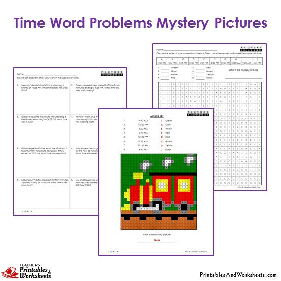 Grade 3 Time Word Problems Mystery Pictures Coloring Worksheets - Train