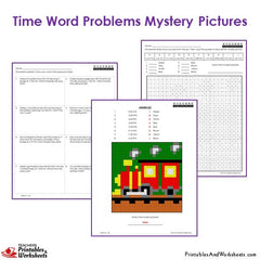 3rd grade time word problems coloring worksheets