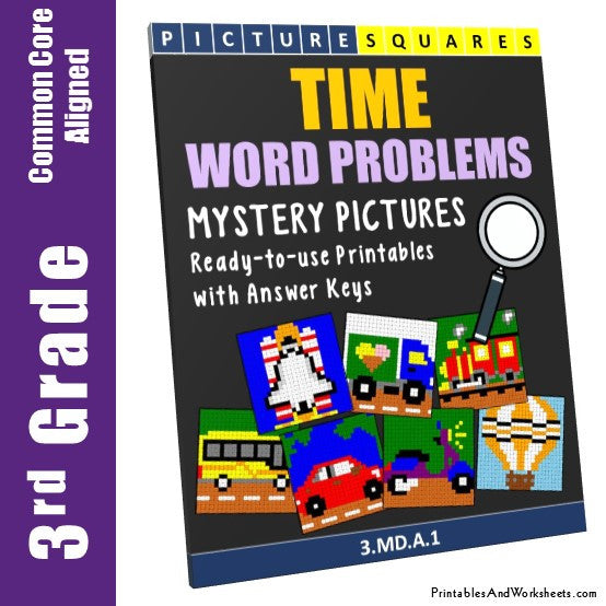 Grade 3 Time Word Problems Mystery Pictures Coloring Worksheets