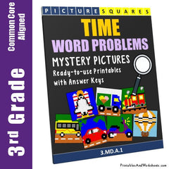 3rd Grade Time Word Problems Mystery Pictures Coloring Worksheets