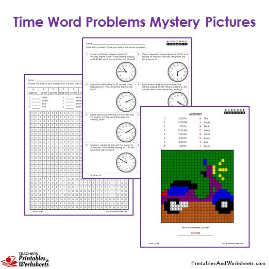 Grade 3 Time Word Problems Mystery Pictures Coloring Worksheets - Motorcycle