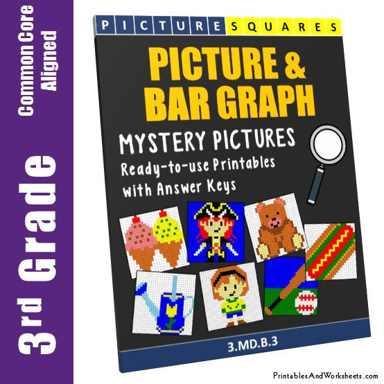 Grade 3 Picture and Bar Graphs Mystery Pictures Coloring Worksheets