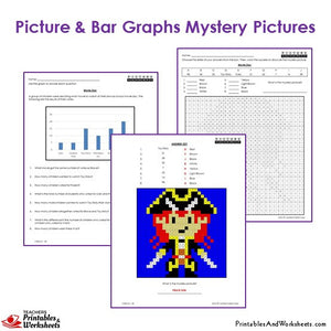Grade 3 Picture and Bar Graphs Mystery Pictures Coloring Worksheets - Pirate