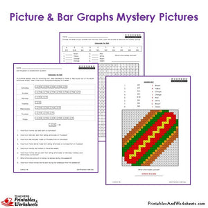 Grade 3 Picture and Bar Graphs Mystery Pictures Coloring Worksheets - Hotdog