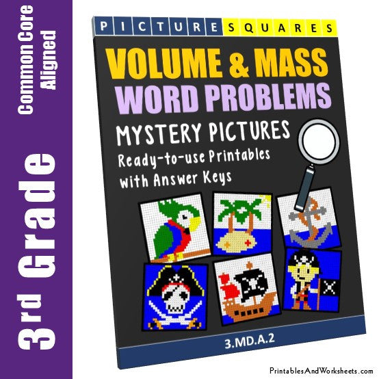 Grade 3 Volume and Mass Word Problems Mystery Pictures Coloring Worksheets