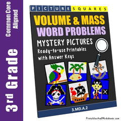 3rd Grade Volume and Mass Word Problems Mystery Pictures Coloring Worksheets