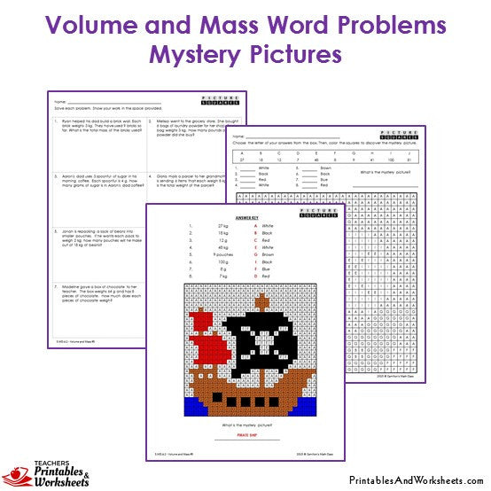 Grade 3 Volume and Mass Word Problems Mystery Pictures Coloring Worksheets - Ship