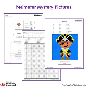 Grade 3 Perimeter Mystery Pictures Coloring Worksheets - Pirate