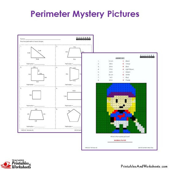 Grade 3 Perimeter Mystery Pictures Coloring Worksheets - Baseball Player