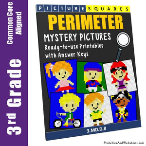 Grade 3 Perimeter Mystery Pictures Coloring Worksheets