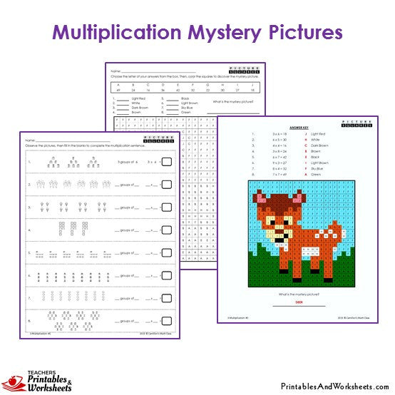 Grade 3 Multiplication Mystery Pictures Coloring Worksheets - Deer