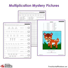 3rd Grade Multiplication Mystery Pictures Coloring Worksheets