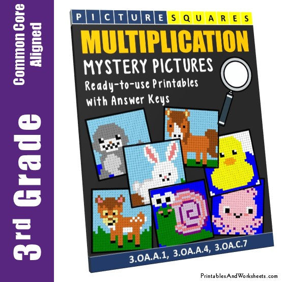 Grade 3 Multiplication Mystery Pictures Coloring Worksheets