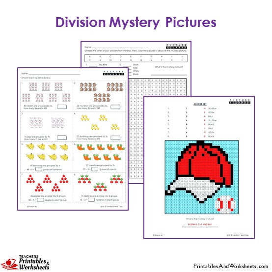 Grade 3 Division Mystery Pictures Coloring Worksheets - Cap