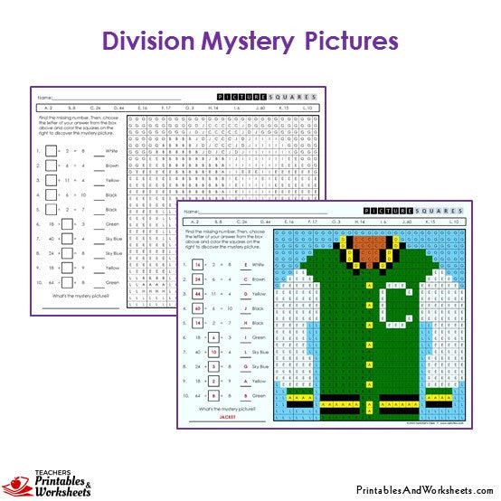 3rd grade division mystery pictures coloring worksheets printables worksheets. Black Bedroom Furniture Sets. Home Design Ideas