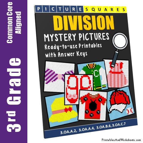 Grade 3 Division Mystery Pictures Coloring Worksheets
