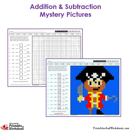 Grade 3 Addition and Subtraction Mystery Pictures Coloring Worksheets - Pirate