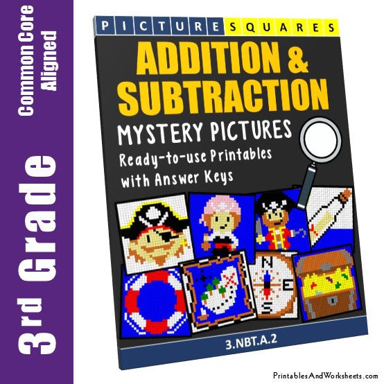 Grade 3 Addition and Subtraction Mystery Pictures Coloring Worksheets