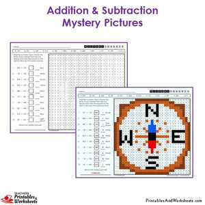 Grade 3 Addition and Subtraction Mystery Pictures Coloring Worksheets - Compass