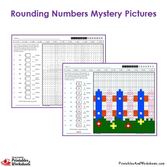 Grade 3 Rounding Mystery Pictures Coloring Worksheets - Fence