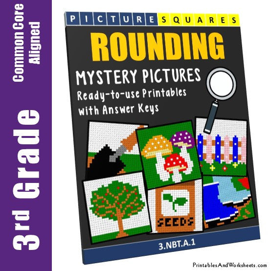 Grade 3 Rounding Mystery Pictures Coloring Worksheets