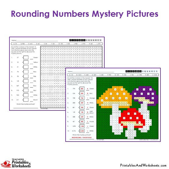 3rd grade rounding mystery pictures coloring worksheets printables worksheets. Black Bedroom Furniture Sets. Home Design Ideas