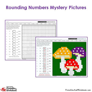Grade 3 Rounding Mystery Pictures Coloring Worksheets - Mushroom