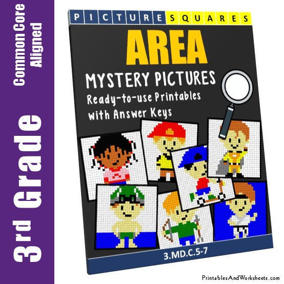 Grade 3 Area Mystery Pictures Coloring Worksheets