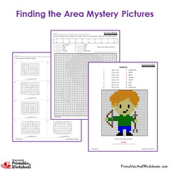 3rd Grade Area Mystery Pictures Coloring Worksheets