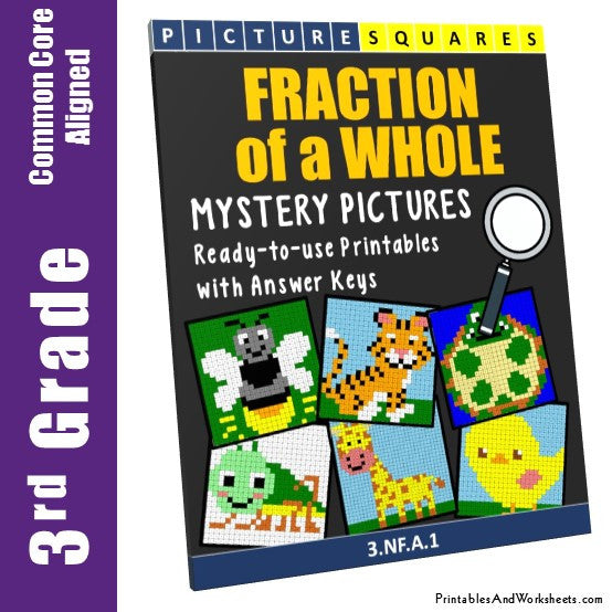 Grade 3 Fraction of a Whole Mystery Pictures Coloring Worksheets