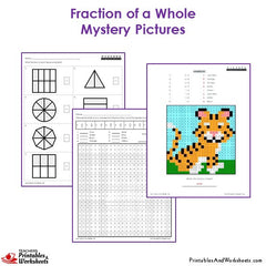 3rd Grade Fractions of a Whole Mystery Pictures Coloring Worksheets