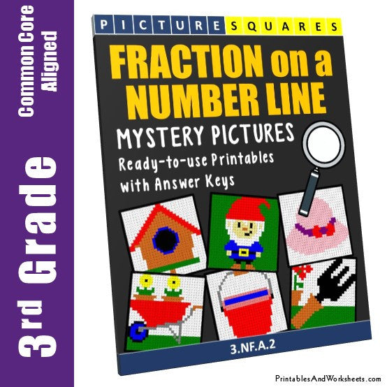 3rd Grade Fractions on a Number Line Mystery Pictures Coloring Worksheets
