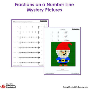 3rd Grade Fractions on a Number Line Coloring Worksheets -  Mystery Picture: Gnome