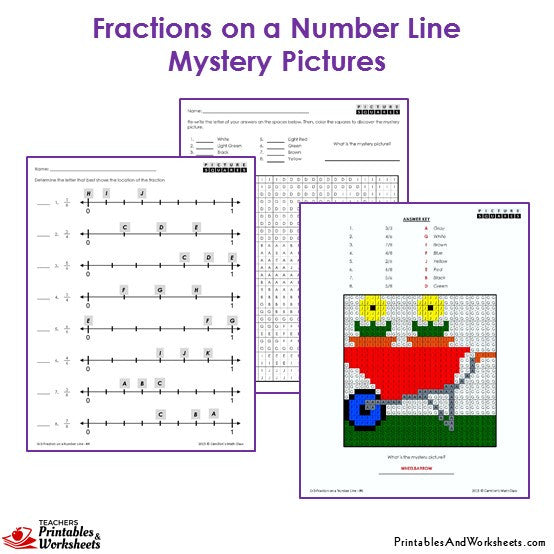 3rd Grade Fractions on a Number Line Coloring Worksheets -  Mystery Picture: Wheelbarrow