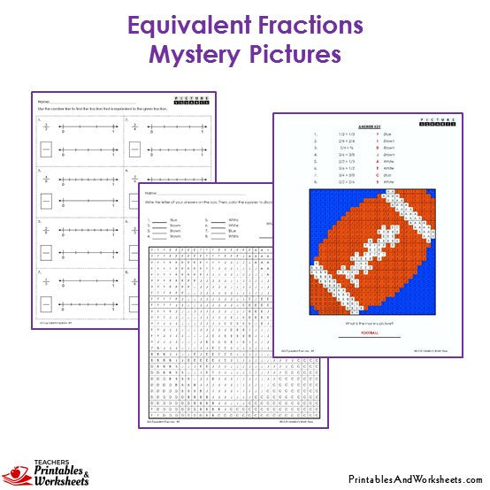Grade 3 Equivalent Fractions Mystery Pictures Coloring Worksheets - Football