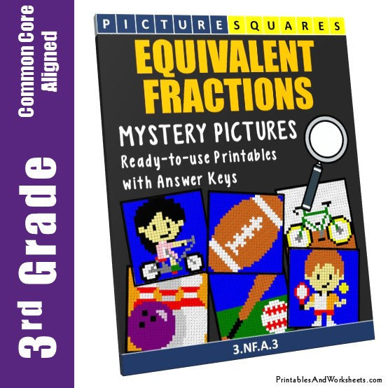 Grade 3 Equivalent Fractions Mystery Pictures Coloring Worksheets