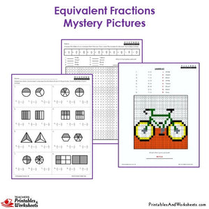 Grade 3 Equivalent Fractions Mystery Pictures Coloring Worksheets - Bicycle