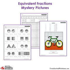 3rd Grade Equivalent Fractions Mystery Pictures Coloring Worksheets