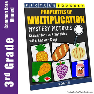 Grade 3 Properties Of Multiplication Mystery Pictures Coloring Worksheets