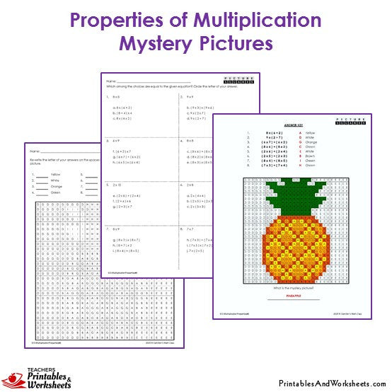 Grade 3 Properties Of Multiplication Mystery Pictures - Pineapple