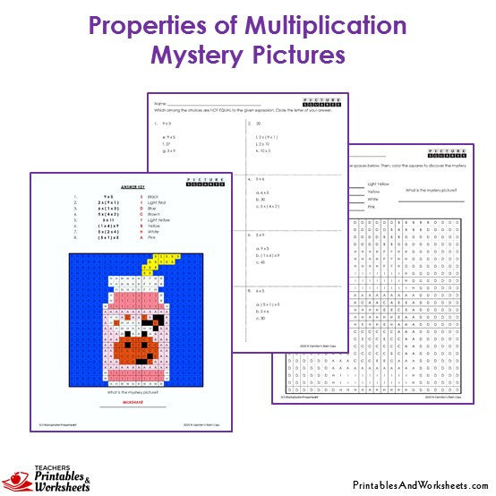 Grade 3 Properties Of Multiplication Coloring Worksheets - Milkshake