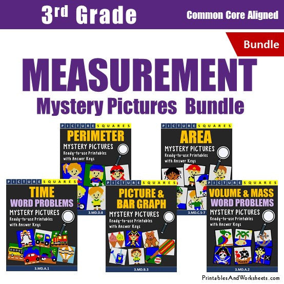 3rd Grade Measurement Mystery Pictures Coloring Worksheets