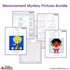 3rd Grade Measurement Mystery Pictures Coloring Worksheets Bundle