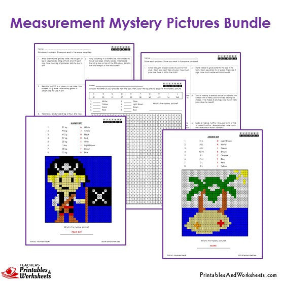 3rd Grade Measurement Mystery Pictures Coloring Worksheets Sample 2