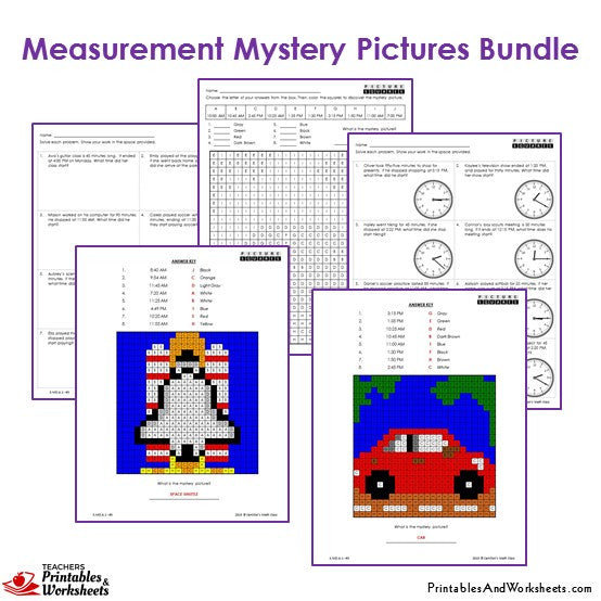 3rd Grade Measurement Mystery Pictures Coloring Worksheets Sample 3