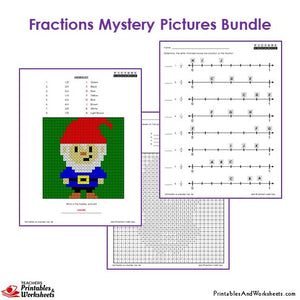 Grade 3 Fraction Mystery Pictures Coloring Worksheets - Gnome