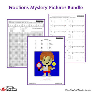 Grade 3 Fraction Mystery Pictures Coloring Worksheets - Tennis Player